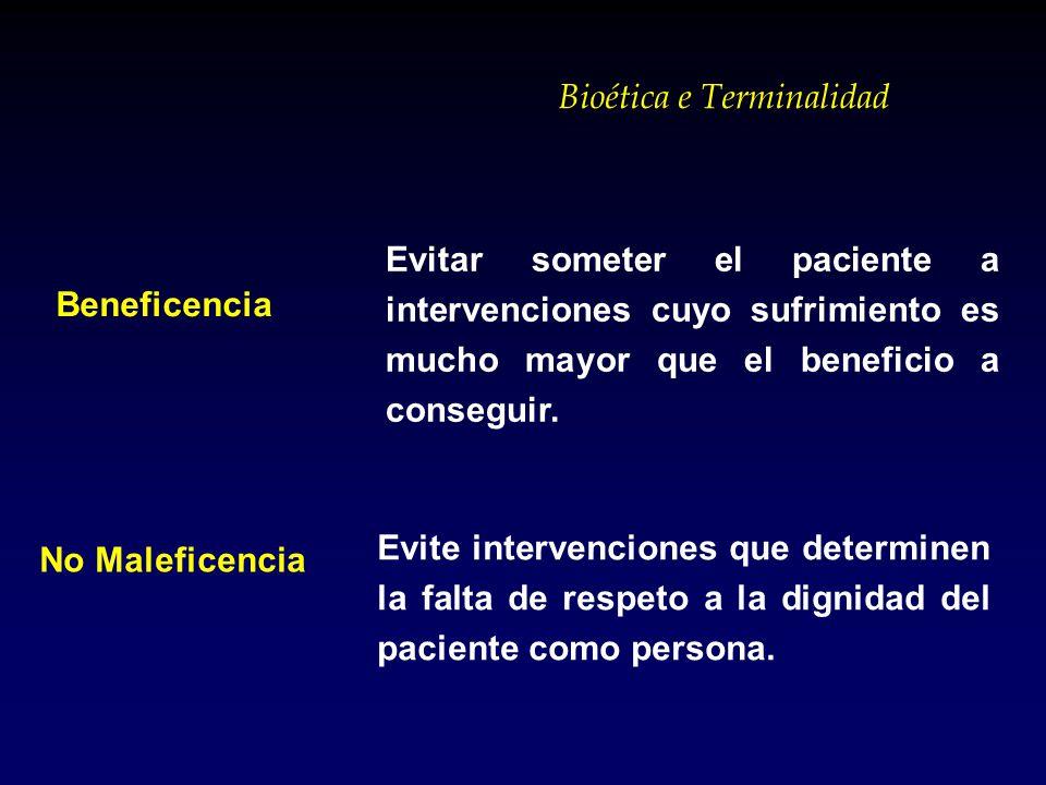 Bioética e Terminalidad Evitar someter el paciente a intervenciones cuyo sufrimiento es mucho mayor que el beneficio a conseguir. Evite intervenciones