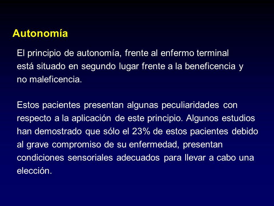 El principio de autonomía, frente al enfermo terminal está situado en segundo lugar frente a la beneficencia y no maleficencia. Estos pacientes presen