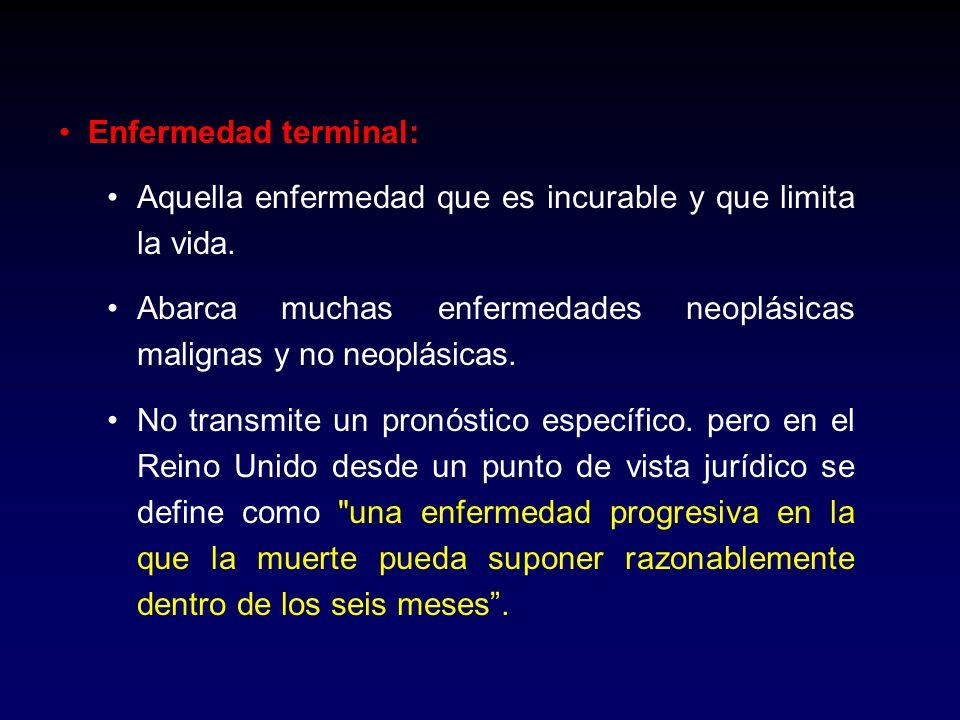 Enfermedad terminal: Aquella enfermedad que es incurable y que limita la vida. Abarca muchas enfermedades neoplásicas malignas y no neoplásicas. No tr