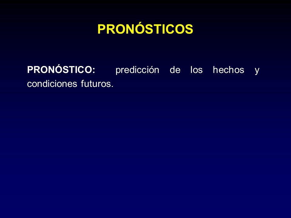 PRONÓSTICO: predicción de los hechos y condiciones futuros. PRONÓSTICOS