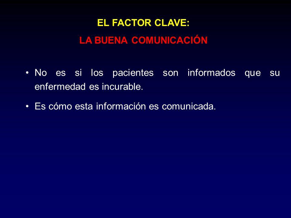 EL FACTOR CLAVE: LA BUENA COMUNICACIÓN No es si los pacientes son informados que su enfermedad es incurable. Es cómo esta información es comunicada.