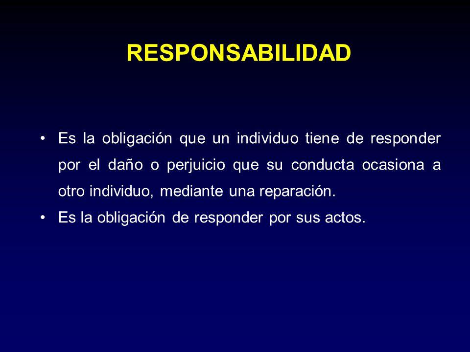 Es la obligación que un individuo tiene de responder por el daño o perjuicio que su conducta ocasiona a otro individuo, mediante una reparación. Es la