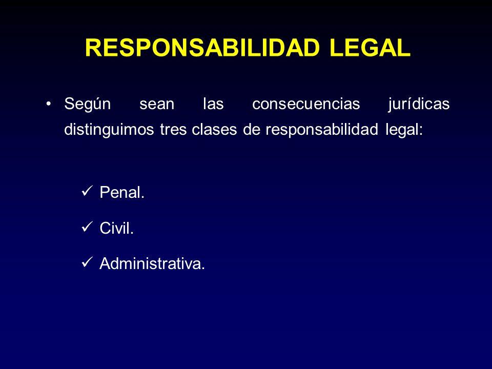 RESPONSABILIDAD LEGAL Según sean las consecuencias jurídicas distinguimos tres clases de responsabilidad legal: Penal. Civil. Administrativa.