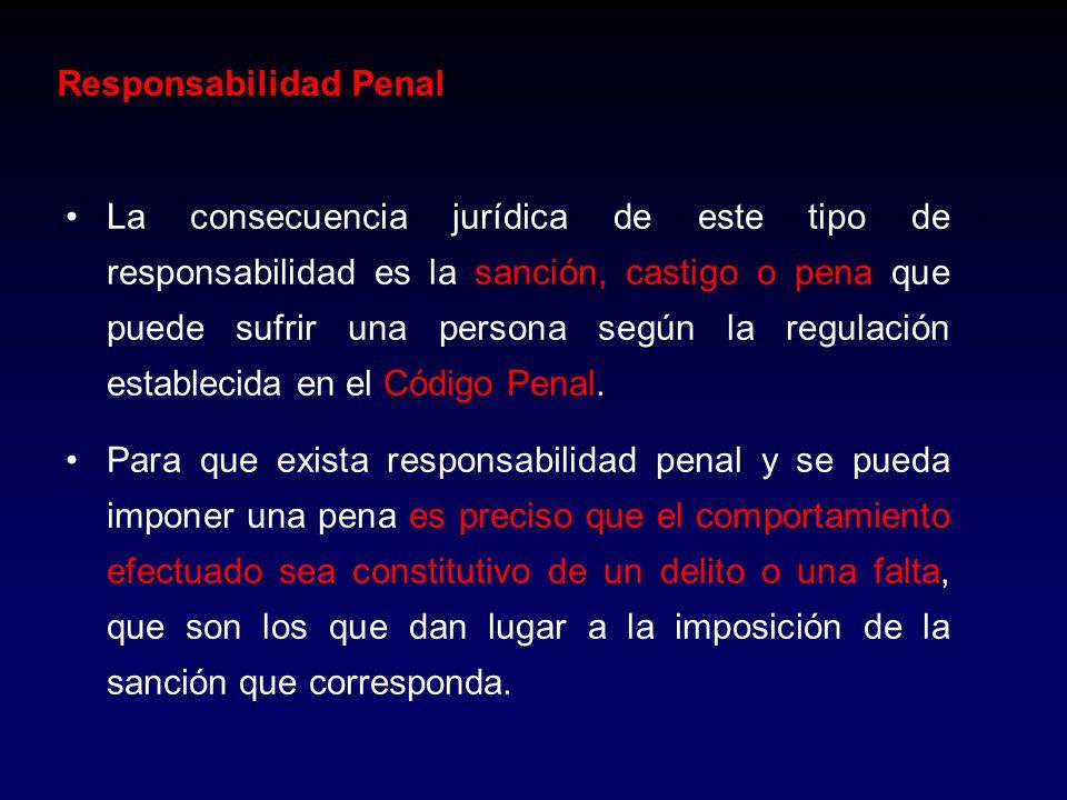 Responsabilidad Penal La consecuencia jurídica de este tipo de responsabilidad es la sanción, castigo o pena que puede sufrir una persona según la reg