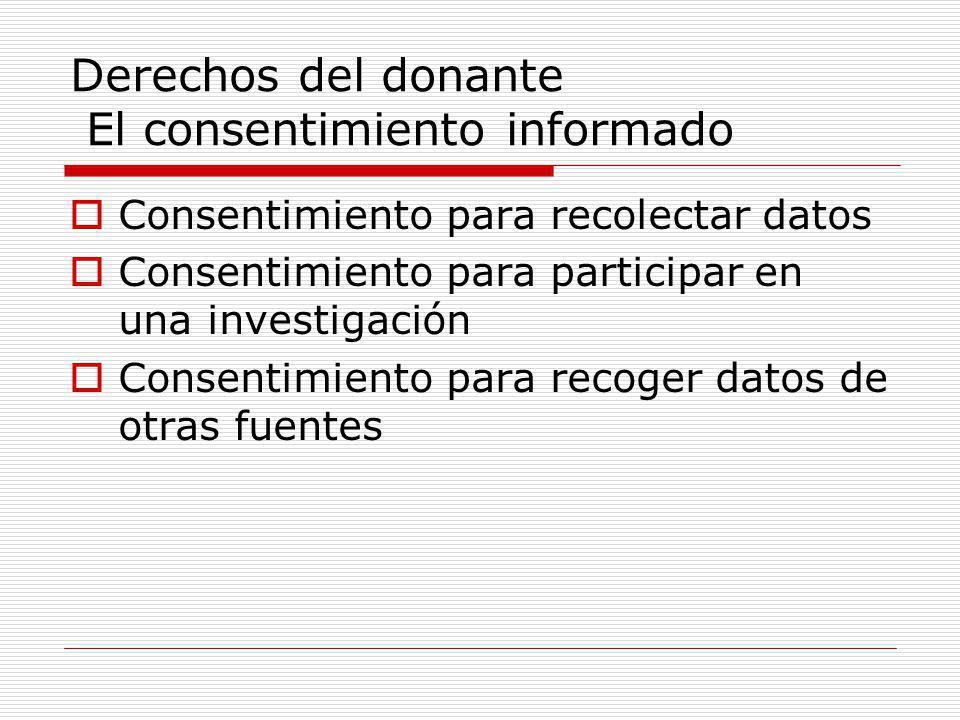 Derechos del donante El consentimiento informado Consentimiento para recolectar datos Consentimiento para participar en una investigación Consentimiento para recoger datos de otras fuentes