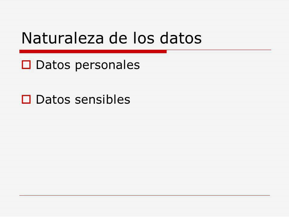 Naturaleza de los datos Datos personales Datos sensibles