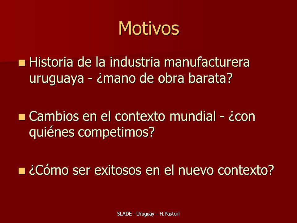 SLADE - Uruguay - H.Pastori Motivos Historia de la industria manufacturera uruguaya - ¿mano de obra barata? Historia de la industria manufacturera uru