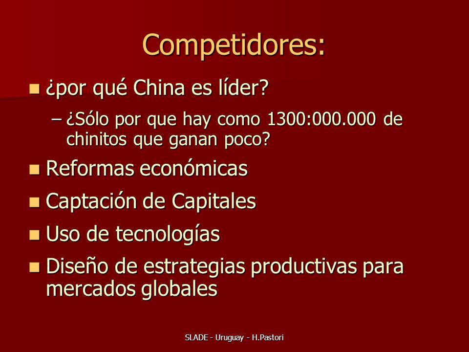 SLADE - Uruguay - H.Pastori Competidores: ¿por qué China es líder? ¿por qué China es líder? –¿Sólo por que hay como 1300:000.000 de chinitos que ganan