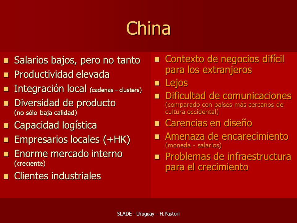 SLADE - Uruguay - H.Pastori China Salarios bajos, pero no tanto Salarios bajos, pero no tanto Productividad elevada Productividad elevada Integración local (cadenas – clusters) Integración local (cadenas – clusters) Diversidad de producto (no sólo baja calidad) Diversidad de producto (no sólo baja calidad) Capacidad logística Capacidad logística Empresarios locales (+HK) Empresarios locales (+HK) Enorme mercado interno (creciente) Enorme mercado interno (creciente) Clientes industriales Clientes industriales Contexto de negocios difícil para los extranjeros Contexto de negocios difícil para los extranjeros Lejos Lejos Dificultad de comunicaciones (comparado con países más cercanos de cultura occidental) Dificultad de comunicaciones (comparado con países más cercanos de cultura occidental) Carencias en diseño Carencias en diseño Amenaza de encarecimiento (moneda - salarios) Amenaza de encarecimiento (moneda - salarios) Problemas de infraestructura para el crecimiento Problemas de infraestructura para el crecimiento