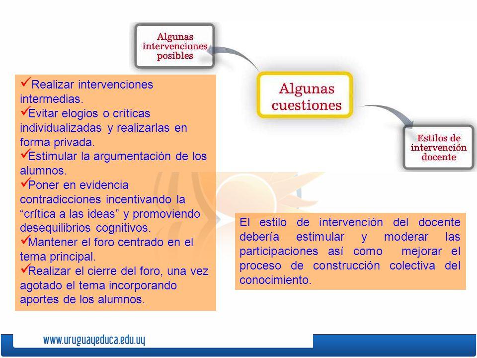 El estilo de intervención del docente debería estimular y moderar las participaciones así como mejorar el proceso de construcción colectiva del conocimiento.