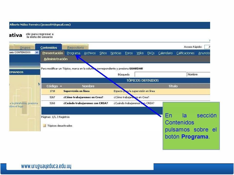 En la sección Contenidos pulsamos sobre el botón Programa.
