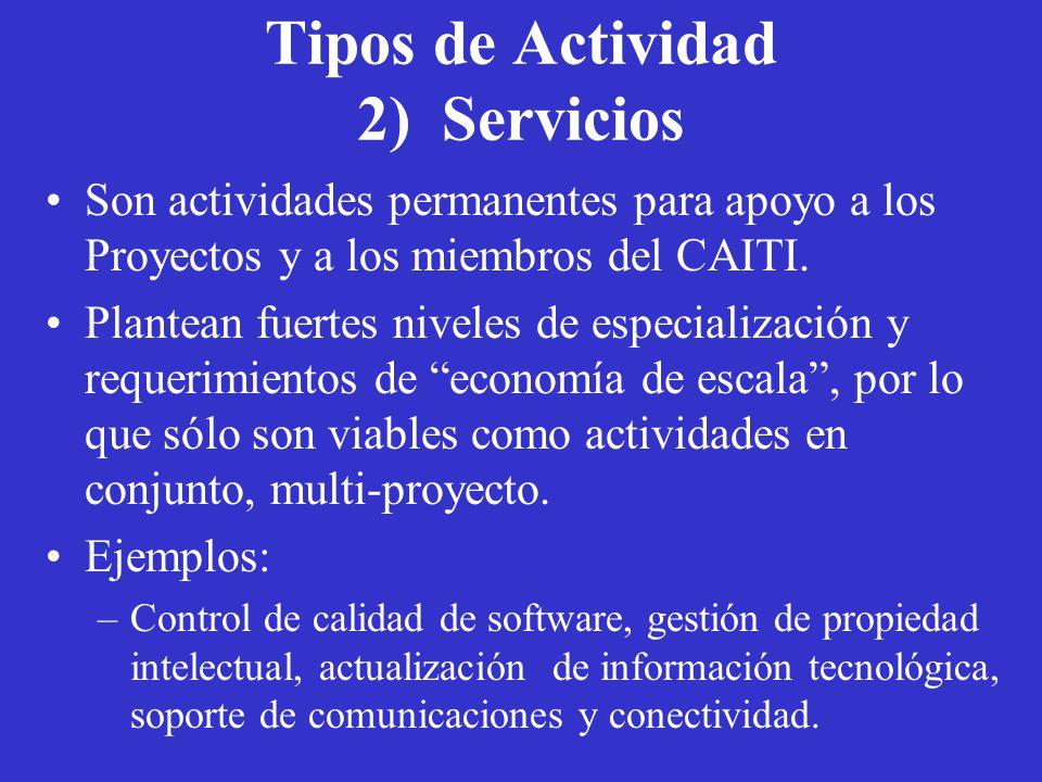 Tipos de Actividad 2) Servicios Son actividades permanentes para apoyo a los Proyectos y a los miembros del CAITI.