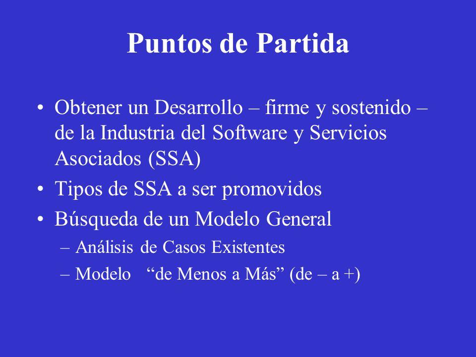 Puntos de Partida Obtener un Desarrollo – firme y sostenido – de la Industria del Software y Servicios Asociados (SSA) Tipos de SSA a ser promovidos Búsqueda de un Modelo General –Análisis de Casos Existentes –Modelo de Menos a Más (de – a +)