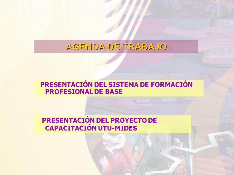 AGENDA DE TRABAJO PRESENTACIÓN DEL SISTEMA DE FORMACIÓN PROFESIONAL DE BASE PRESENTACIÓN DEL PROYECTO DE CAPACITACIÓN UTU-MIDES