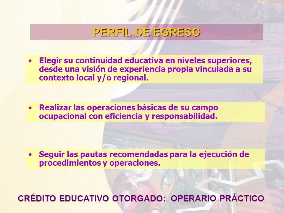 PERFIL DE EGRESO CRÉDITO EDUCATIVO OTORGADO: OPERARIO PRÁCTICO Elegir su continuidad educativa en niveles superiores, desde una visión de experiencia propia vinculada a su contexto local y/o regional.