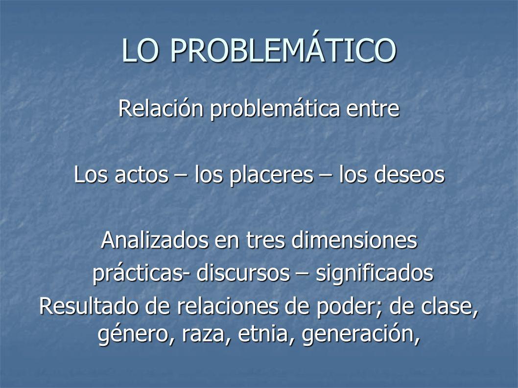 LO PROBLEMÁTICO Relación problemática entre Los actos – los placeres – los deseos Analizados en tres dimensiones prácticas- discursos – significados p