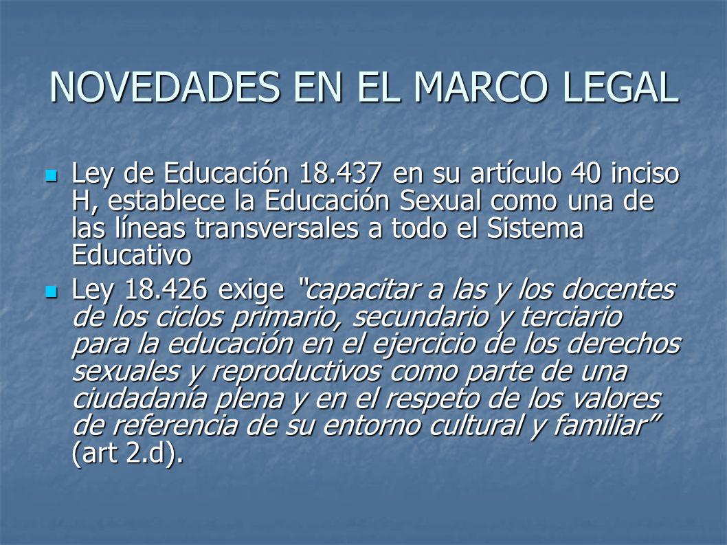 NOVEDADES EN EL MARCO LEGAL Ley de Educación 18.437 en su artículo 40 inciso H, establece la Educación Sexual como una de las líneas transversales a todo el Sistema Educativo Ley de Educación 18.437 en su artículo 40 inciso H, establece la Educación Sexual como una de las líneas transversales a todo el Sistema Educativo Ley 18.426 exige capacitar a las y los docentes de los ciclos primario, secundario y terciario para la educación en el ejercicio de los derechos sexuales y reproductivos como parte de una ciudadanía plena y en el respeto de los valores de referencia de su entorno cultural y familiar (art 2.d).