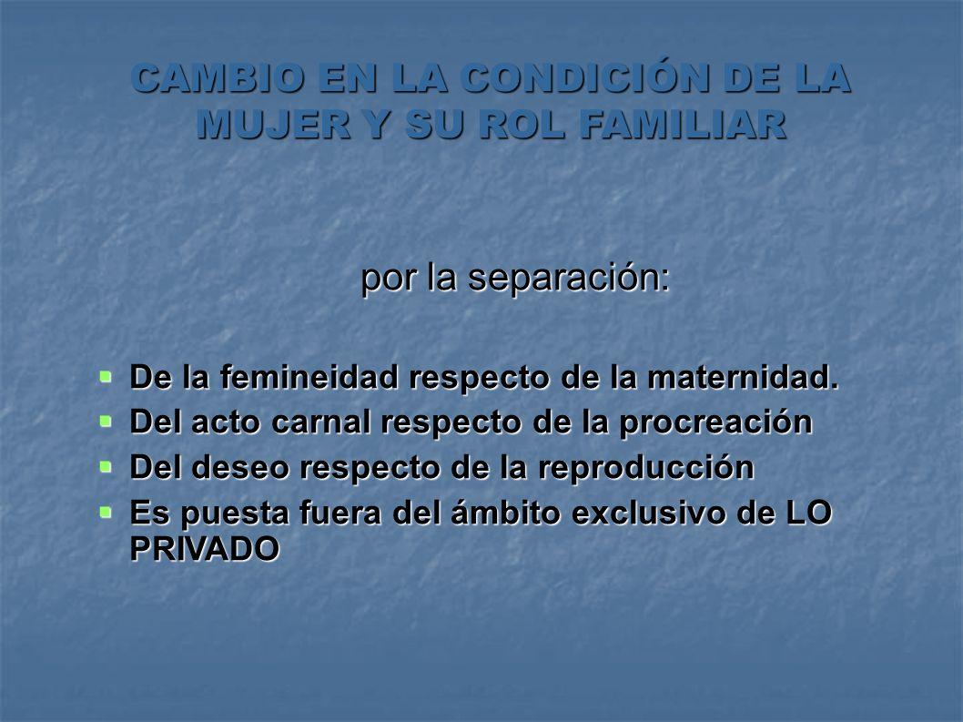 CAMBIO EN LA CONDICIÓN DE LA MUJER Y SU ROL FAMILIAR por la separación: por la separación: De la femineidad respecto de la maternidad. De la femineida