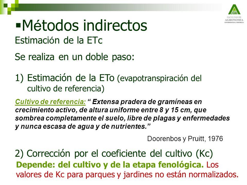 M é todos indirectos Estimaci ó n de la ETc Se realiza en un doble paso: 1)Estimación de la ETo (evapotranspiración del cultivo de referencia) Cultivo