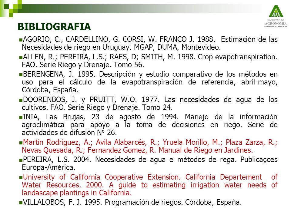 BIBLIOGRAFIA AGORIO, C., CARDELLINO, G. CORSI, W. FRANCO J. 1988. Estimaci ó n de las Necesidades de riego en Uruguay. MGAP, DUMA, Montevideo. ALLEN,