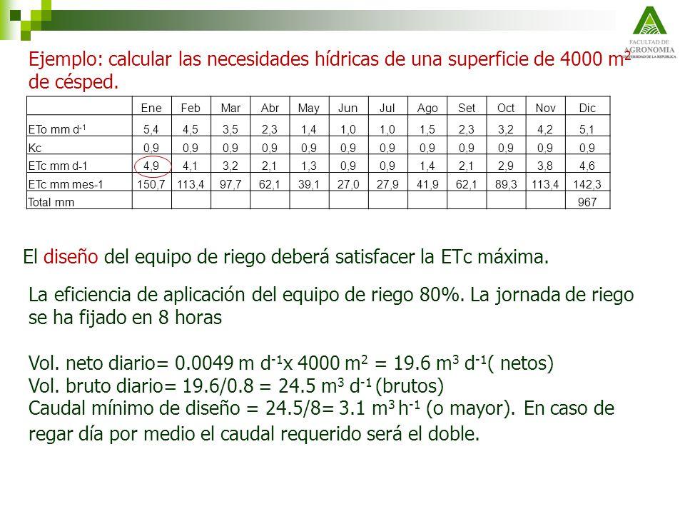 El diseño del equipo de riego deberá satisfacer la ETc máxima. La eficiencia de aplicación del equipo de riego 80%. La jornada de riego se ha fijado e