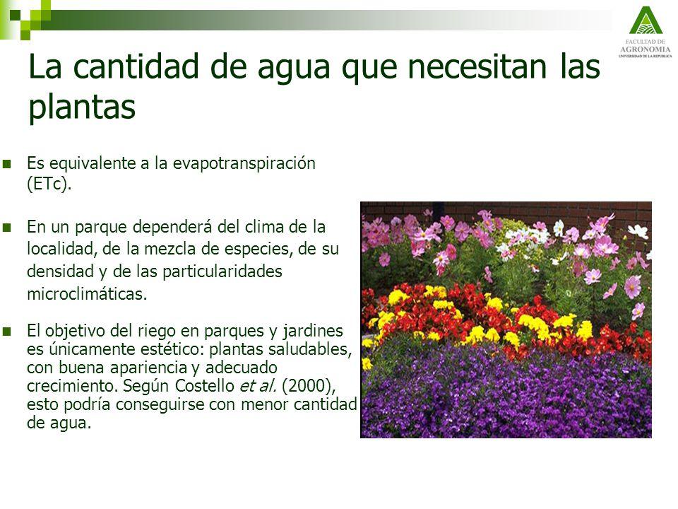 La cantidad de agua que necesitan las plantas Es equivalente a la evapotranspiración (ETc). En un parque dependerá del clima de la localidad, de la me