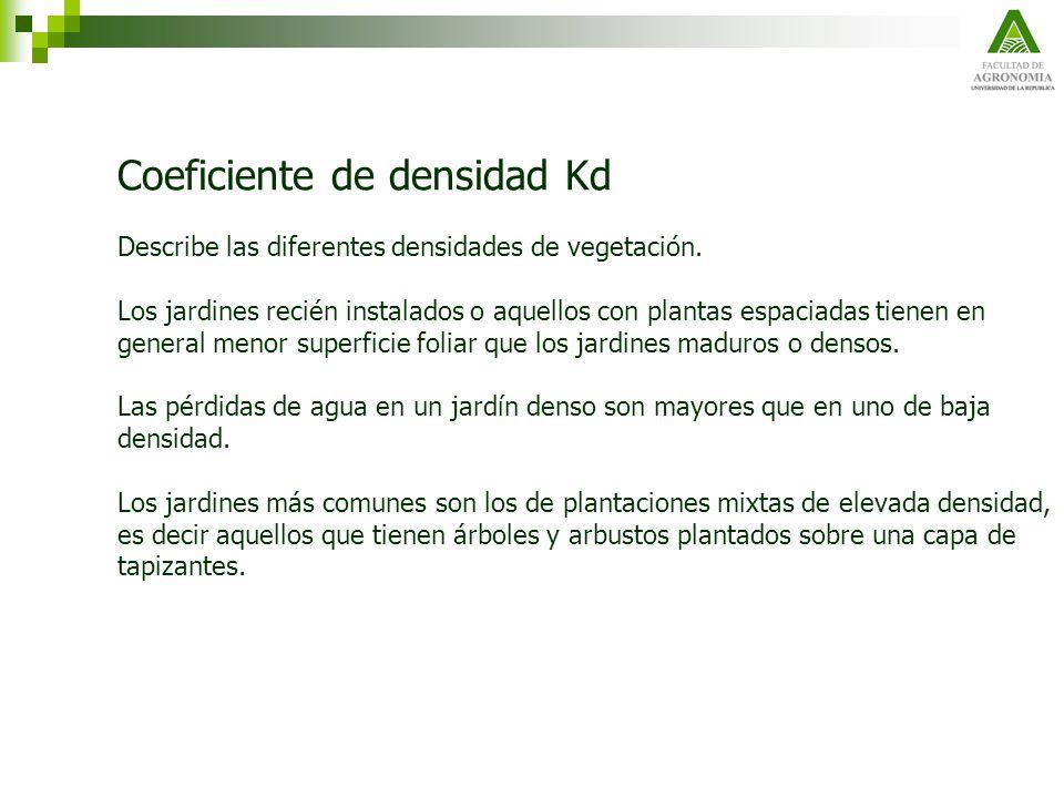 Coeficiente de densidad Kd Describe las diferentes densidades de vegetación. Los jardines recién instalados o aquellos con plantas espaciadas tienen e