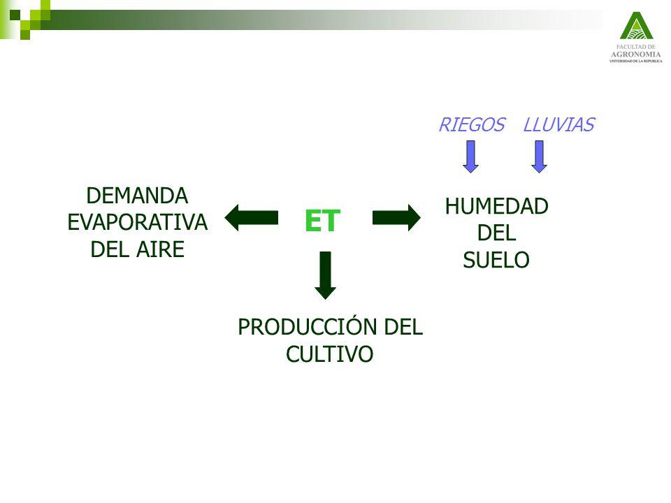 El coeficiente K(tan) seg ú n la FAO Tanque evaporímetro colocado en una superficie de forraje verde de poca altura