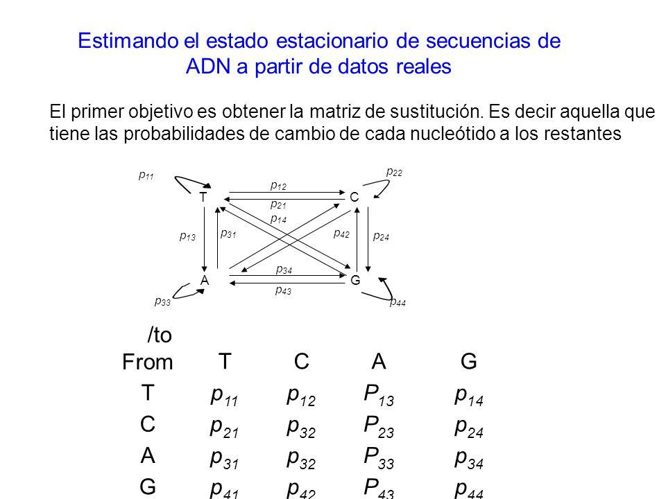 Estimando el estado estacionario de secuencias de ADN a partir de datos reales El primer objetivo es obtener la matriz de sustitución. Es decir aquell