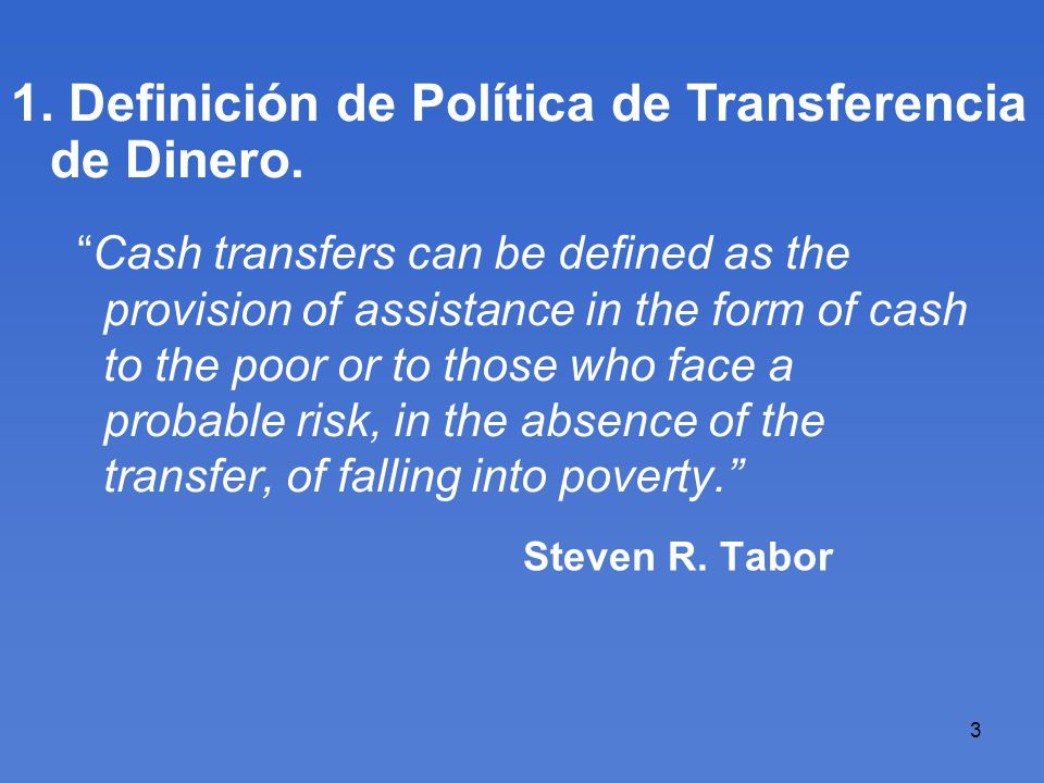 24 Referencias Social Protection Discussion Paper Series: Assisting the Poor with Cash: Design and Implementation of Social Transfer Programs, Steven R.Tabor.