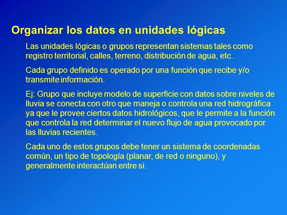 Organizar los datos en unidades lógicas Las unidades lógicas o grupos representan sistemas tales como registro territorial, calles, terreno, distribuc