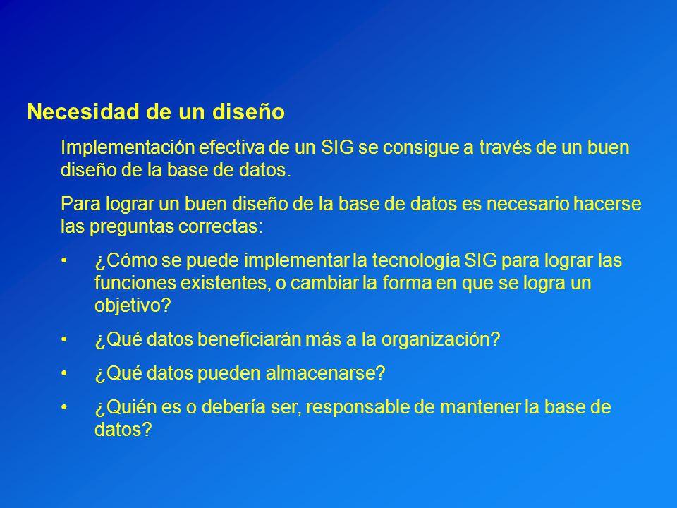 Necesidad de un diseño Implementación efectiva de un SIG se consigue a través de un buen diseño de la base de datos. Para lograr un buen diseño de la