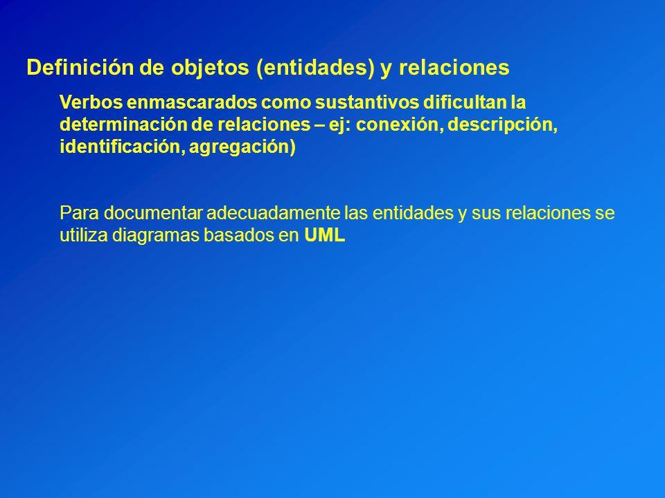 Definición de objetos (entidades) y relaciones Verbos enmascarados como sustantivos dificultan la determinación de relaciones – ej: conexión, descripc