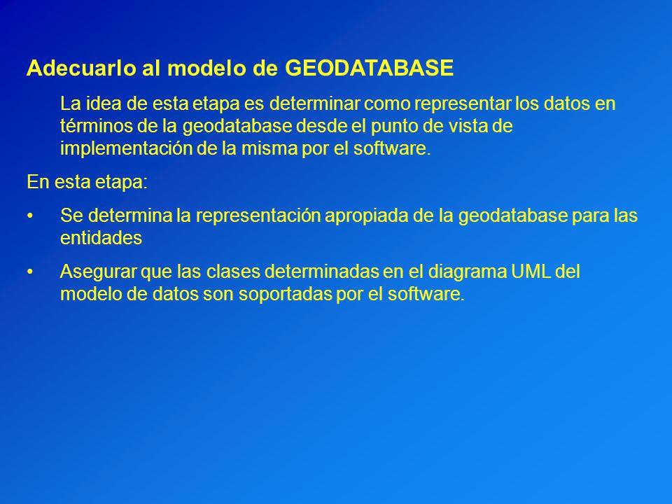 Adecuarlo al modelo de GEODATABASE La idea de esta etapa es determinar como representar los datos en términos de la geodatabase desde el punto de vist