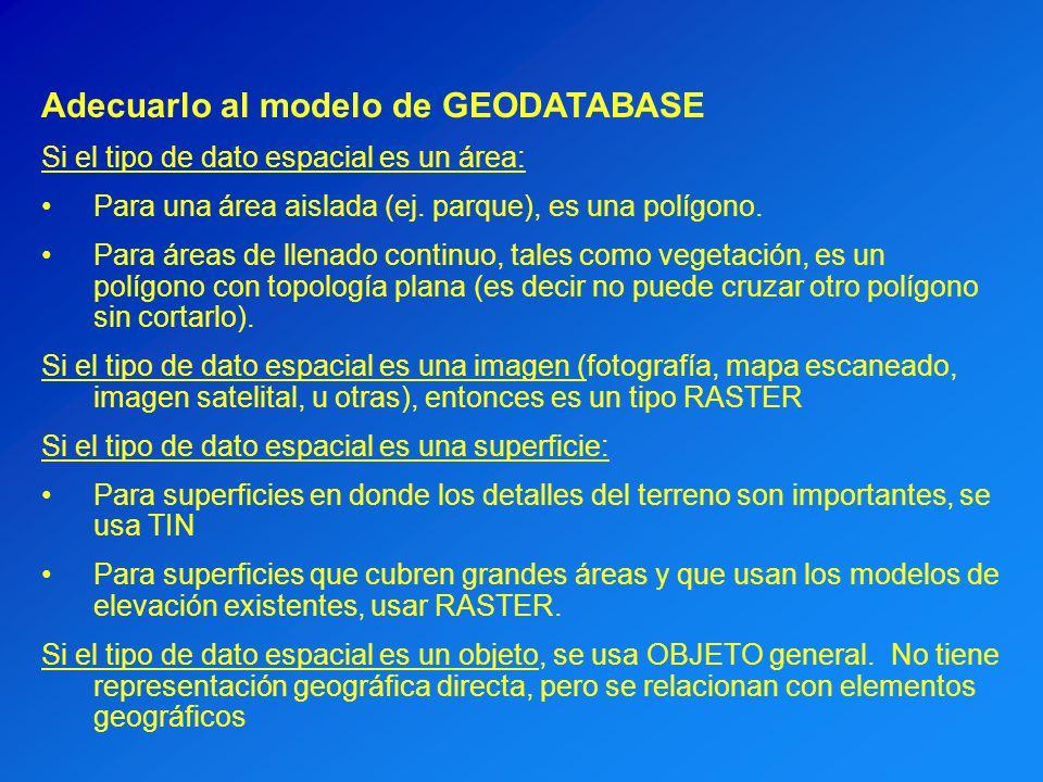Adecuarlo al modelo de GEODATABASE Si el tipo de dato espacial es un área: Para una área aislada (ej. parque), es una polígono. Para áreas de llenado