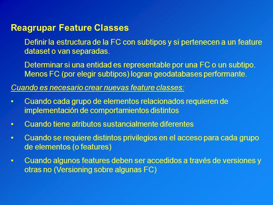 Reagrupar Feature Classes Definir la estructura de la FC con subtipos y si pertenecen a un feature dataset o van separadas. Determinar si una entidad