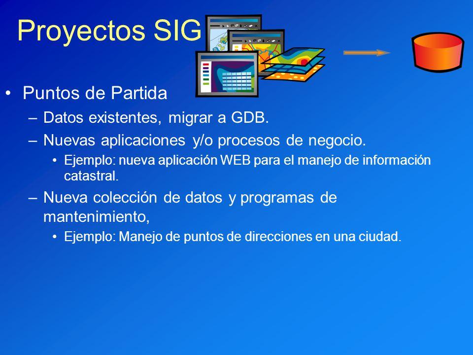 Puntos de Partida –Datos existentes, migrar a GDB. –Nuevas aplicaciones y/o procesos de negocio. Ejemplo: nueva aplicación WEB para el manejo de infor