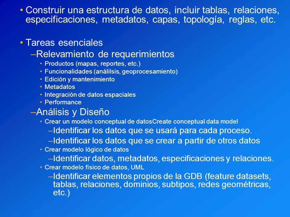 Construir una estructura de datos, incluir tablas, relaciones, especificaciones, metadatos, capas, topología, reglas, etc. Tareas esenciales –Relevami