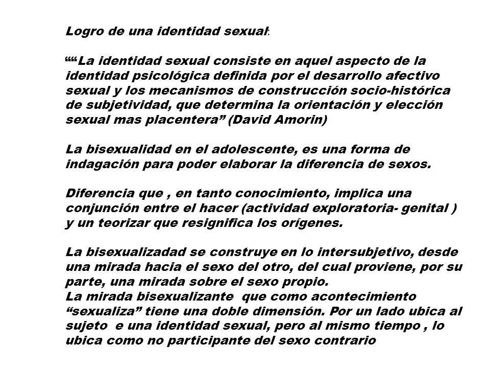 Logro de una identidad sexual : La identidad sexual consiste en aquel aspecto de la identidad psicológica definida por el desarrollo afectivo sexual y
