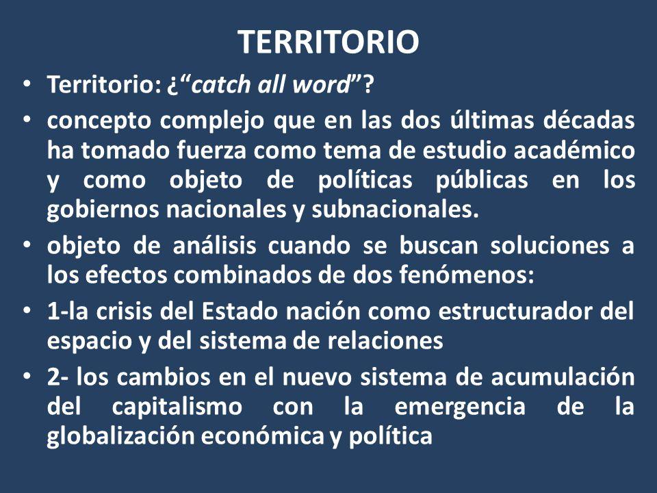 TERRITORIO Territorio: ¿catch all word? concepto complejo que en las dos últimas décadas ha tomado fuerza como tema de estudio académico y como objeto