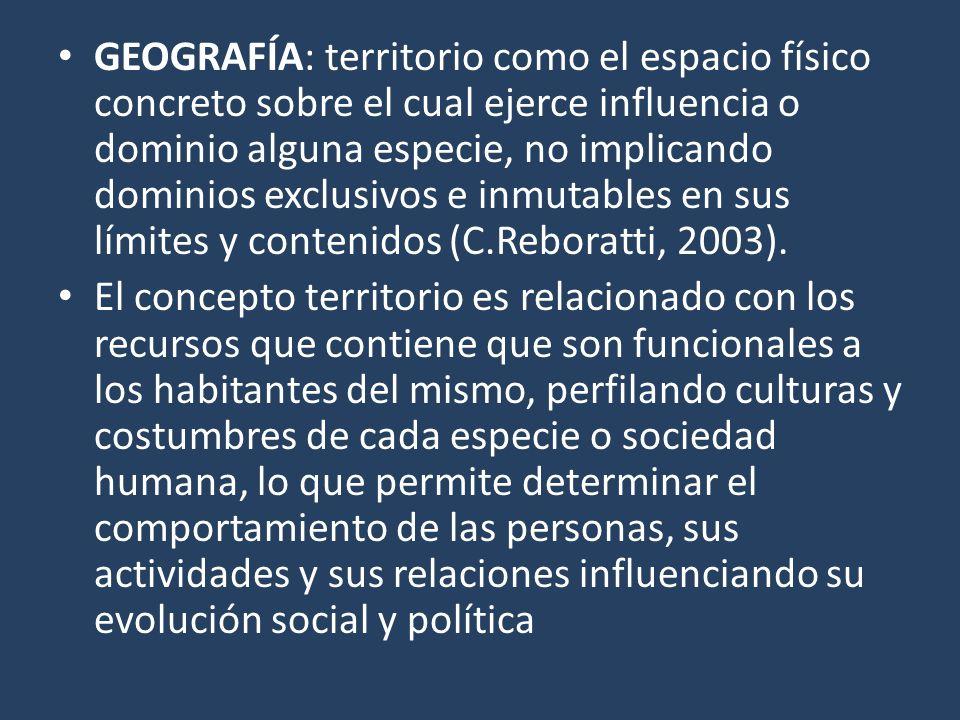 GEOGRAFÍA: territorio como el espacio físico concreto sobre el cual ejerce influencia o dominio alguna especie, no implicando dominios exclusivos e inmutables en sus límites y contenidos (C.Reboratti, 2003).