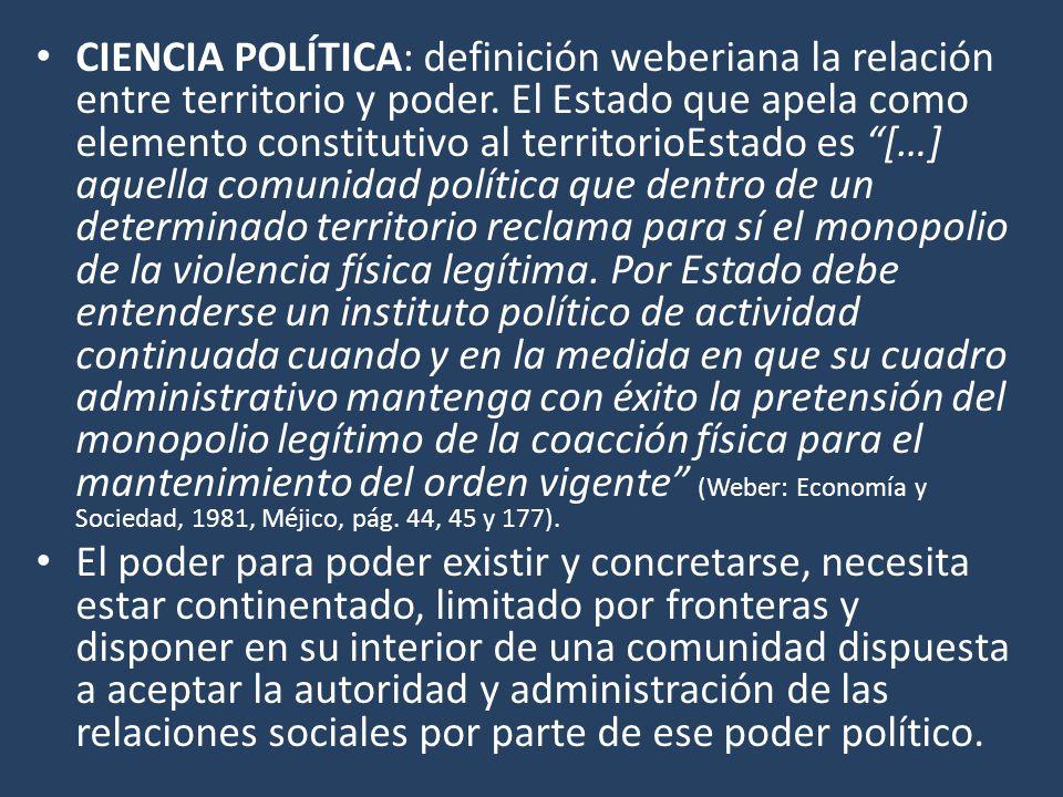 CIENCIA POLÍTICA: definición weberiana la relación entre territorio y poder.