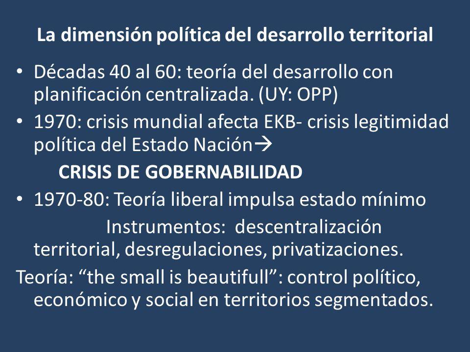 La dimensión política del desarrollo territorial Décadas 40 al 60: teoría del desarrollo con planificación centralizada. (UY: OPP) 1970: crisis mundia