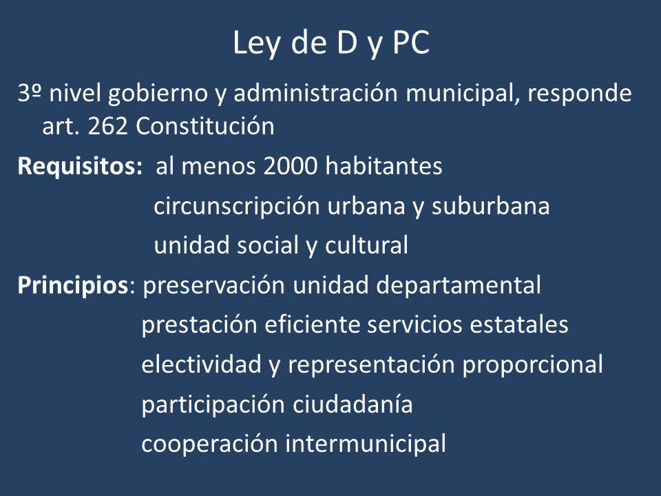 Ley de D y PC 3º nivel gobierno y administración municipal, responde art. 262 Constitución Requisitos: al menos 2000 habitantes circunscripción urbana
