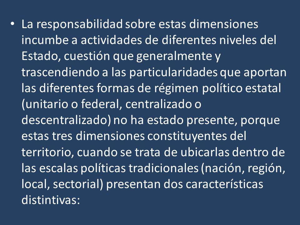La responsabilidad sobre estas dimensiones incumbe a actividades de diferentes niveles del Estado, cuestión que generalmente y trascendiendo a las par