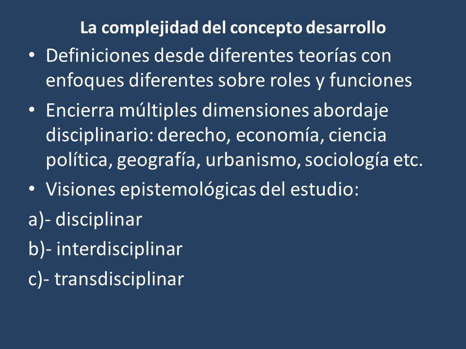La complejidad del concepto desarrollo Definiciones desde diferentes teorías con enfoques diferentes sobre roles y funciones Encierra múltiples dimensiones abordaje disciplinario: derecho, economía, ciencia política, geografía, urbanismo, sociología etc.