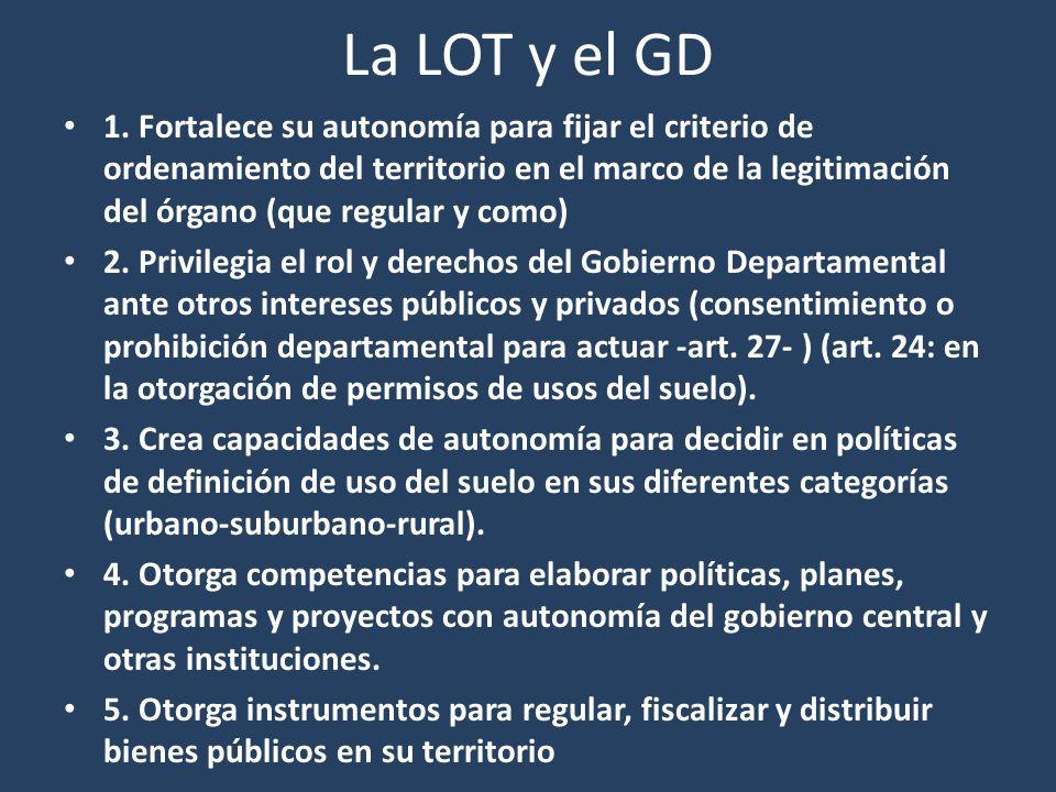 La LOT y el GD 1. Fortalece su autonomía para fijar el criterio de ordenamiento del territorio en el marco de la legitimación del órgano (que regular