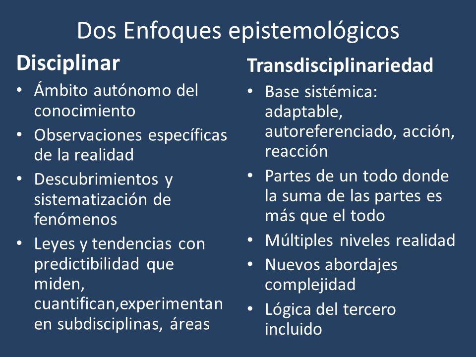 Dos Enfoques epistemológicos Disciplinar Ámbito autónomo del conocimiento Observaciones específicas de la realidad Descubrimientos y sistematización d