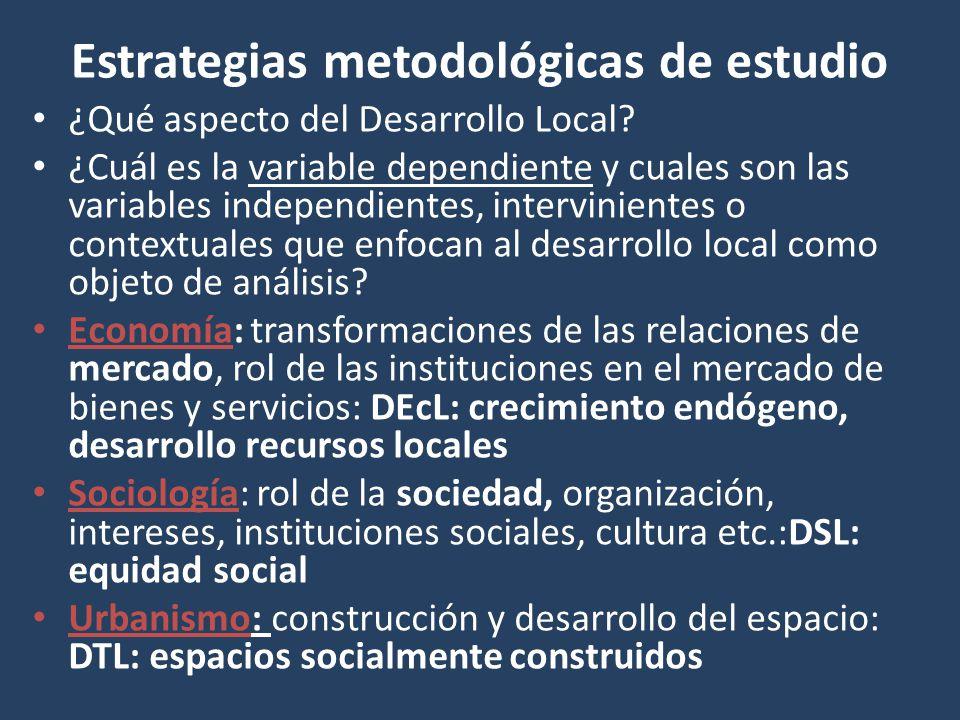 Estrategias metodológicas de estudio ¿Qué aspecto del Desarrollo Local? ¿Cuál es la variable dependiente y cuales son las variables independientes, in