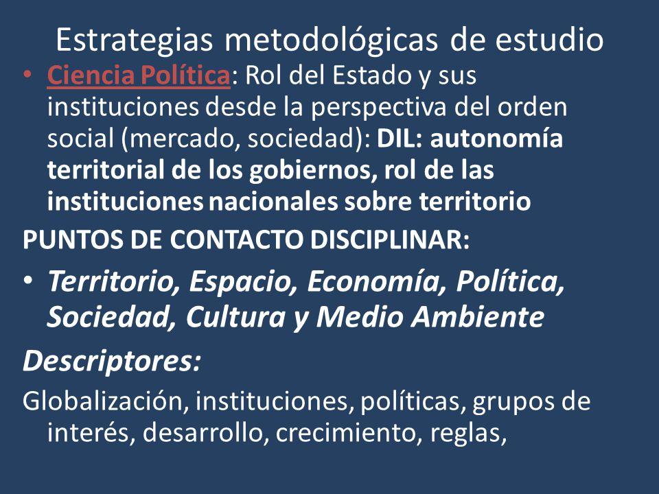 Estrategias metodológicas de estudio Ciencia Política: Rol del Estado y sus instituciones desde la perspectiva del orden social (mercado, sociedad): D